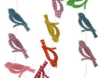 Lamali - guirlande oiseaux colorées motifs pois - Festoon