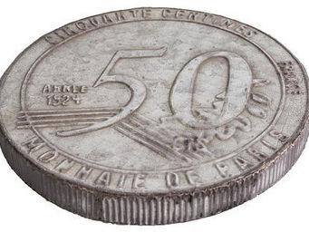 Antic Line Creations - dessous de plat zinc 50 centimes 50 centimes - Plate Coaster