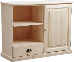 Aubry-Gaspard - meuble tv en bois brut - Media Unit