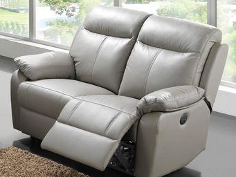 WHITE LABEL - canapé relax électrique 2 places cuir - vyctoire - - 2 Seater Sofa
