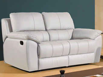 WHITE LABEL - canapé cuir 2 places giorgina - 2 Seater Sofa
