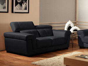 WHITE LABEL - canapé cuir 2 places evasion - 2 Seater Sofa
