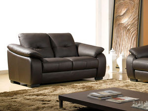 WHITE LABEL - canapé cuir 2 places lila - 2 Seater Sofa