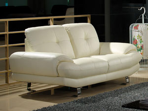 WHITE LABEL - canapé cuir 2 places swan - 2 Seater Sofa