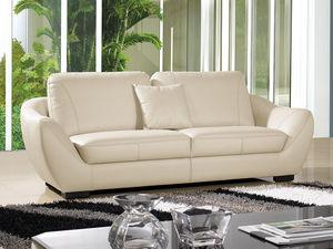 WHITE LABEL - canapé cuir 3 places julietta - 3 Seater Sofa