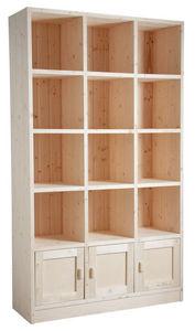 Aubry-Gaspard - bibliothèque 12 cases 3 portes en épicéa brut - Open Bookcase