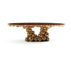 BOCA DO LOBO - newton gold myrtle - Oval Dining Table