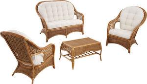 Aubry-Gaspard - salon 4 pièces en rotin jimbani - Garden Furniture Set
