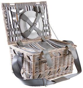 AUBRY GASPARD - panier pique-nique 2 couverts en osier blanchi - Picnic Basket