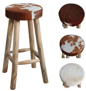 Aubry-Gaspard - tabouret de bar en peau de vache et bois - Bar Stool