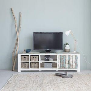 BOIS DESSUS BOIS DESSOUS - meuble tv en bois de pin recyclé 180 atlantic - Media Unit