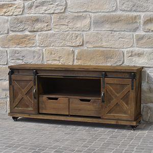 CHEMIN DE CAMPAGNE - meuble télé tv industriel campagne en bois fer 140 - Media Unit