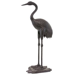 CHEMIN DE CAMPAGNE - statue sculpture de héron oiseau en fonte marron d - Garden Ornament