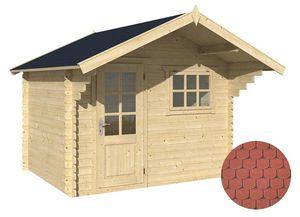 jardindeco - abri de jardin en bois ventoux bardeau arrondi rou - Wood Garden Shed