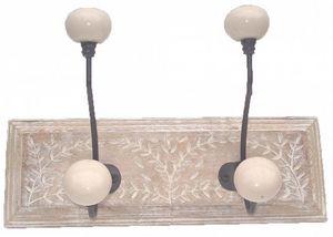 Aubry-Gaspard - patère en manguier motif feuilles 2 crochets - Coat Hook