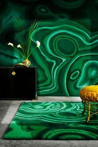 PINTON - malachite vert - Modern Rug
