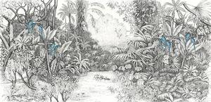 Ananbô - perroquets bleus - Panoramic Wallpaper