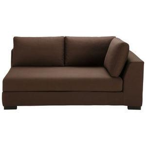 MAISONS DU MONDE - canapé manchot droit convertible coton chocolat te - Corner Sofa
