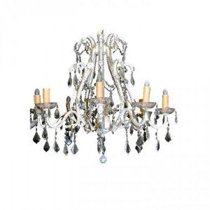 Demeure et Jardin - lustre poire perle pampilles en verre - Chandelier