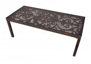 Demeure et Jardin - table basse plateau de verre - Rectangular Coffee Table