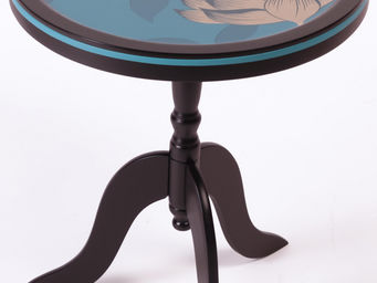 RELOADED DESIGN - mini table turquoise flowers - small - Pedestal Table