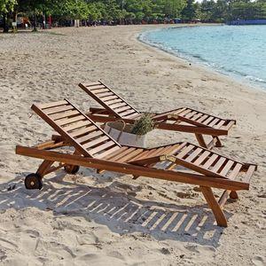 BOIS DESSUS BOIS DESSOUS - lot de 2 bains de soleil en bois de teck huilé bal - Sun Lounger