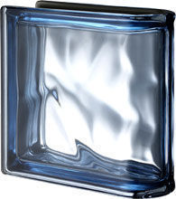 Seves Glassblock - peagsus metallizzato blu ter lineare o met - Straight End Glass Block