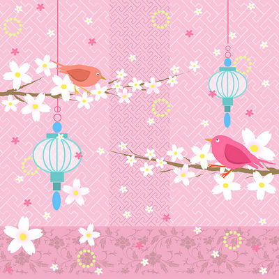 Design Atelier - Gift wrapping paper-Design Atelier-Vögel mit Laternen