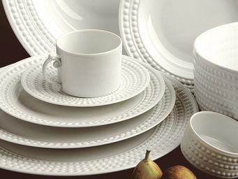 L'OBJET - perlée white dinnerware - Flache Teller