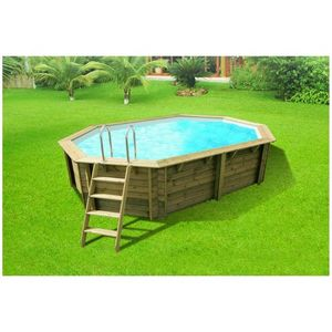 Aqualux - piscine en bois lenny - 560 x 360 x 113 cm - Pool Mit Holzumrandung
