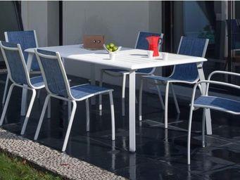 PROLOISIRS - salon jean's 1 table + 4 chaises + 2 fauteuils - Garten Esszimmer