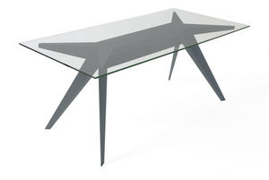 MARCEL BY - table stern 220 by stephan lanez en verre et alumi - Rechteckiger Esstisch