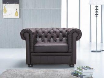 BELIANI - fauteuil en cuir chesterfield brun - Chesterfield Sessel
