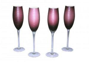 Demeure et Jardin - ensemble de 4 flutes a champagne mauves - Champagnerkelch