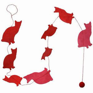 Lamali - guirlande chats en papier lokta 150cm rouge - Girlande Kindern