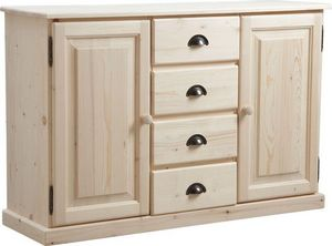 Aubry-Gaspard - meuble bois brut 2 portes 4 tiroirs - Anrichte