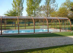 Abri piscine POOLABRI - haut bois - Hoches Swimmingpool Schutz