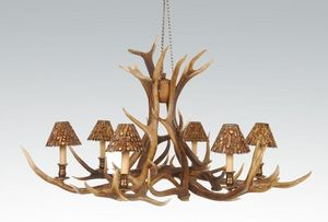 CLOCK HOUSE FURNITURE - chandelier - 6 arm red deer - Deckenlampe Hängelampe