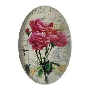 CHEMIN DE CAMPAGNE - presse papier sulfure ovale bombé motif rose en ve - Briefbeschwerer
