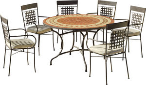 HEVEA - table de jardin ronde et fauteuils lorny vigo - Garten Esszimmer