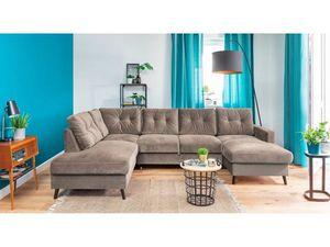 BOBOCHIC - canape panoramique fixe velours xxl scandi beige angle gauche - Variables Sofa