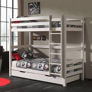 MAISON ET STYLES - lits superposés 90x200 cm h180 cm avec 2 tiroirs blanc - pino - Etagenbett
