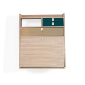 HARTÔ - gaston - secrétaire chêne tiroir laiton et bleu pé - Aufgehängter Schreibtisch