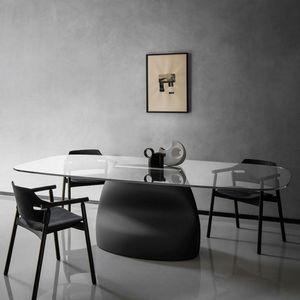 Midj - gran sasso - table en baydur, cuir et verre 250 x - Ovaler Esstisch