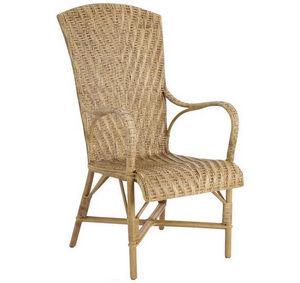 Aubry-Gaspard - fauteuil en manau et lame de rotin antique - Stuhl Mit Korbsitzfläche