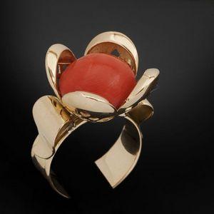Expertissim - bague fleur or et corail - Ring