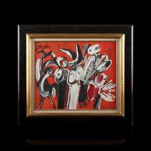 Expertissim - yannis gaitis. personnages et oiseaux fond rouge,  - Zeitgenössische Gemälde