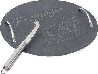 BARCLER - plateau à fromages en ardoise et anses en métal 30 - Käseplatte