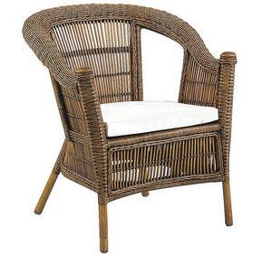 Aubry-Gaspard - fauteuil en rotin patti avec coussin en tissu 72x6 - Gartensessel