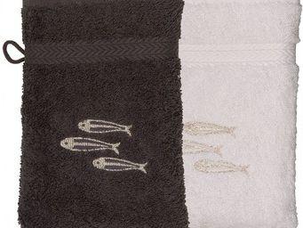 SIRETEX - SENSEI - gant eponge brodé sardines 550gr/m² coton - Waschlappen